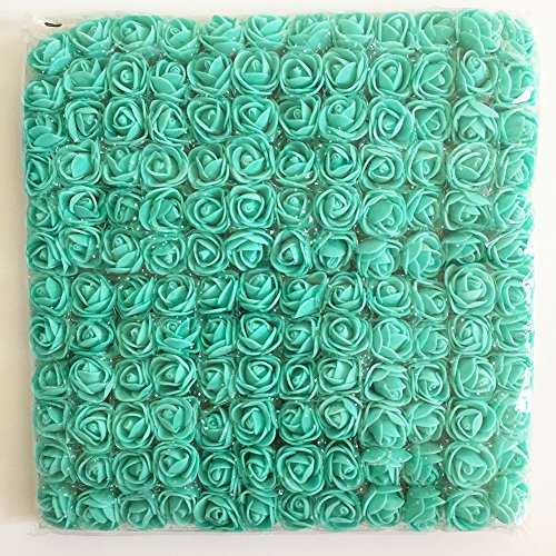 Artfen Mini Fake Rose Flower Heads 144pcs Mini Artificial Roses DIY Wedding Flowers Accessories Make Bridal Hair Clips Headbands Dress (bottom add gauze) Tiffany Blue