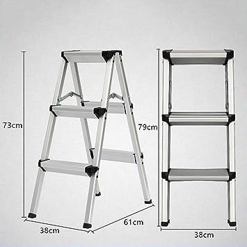 ACZZ Escalera de paso ligera, peldaño ancho no deslizante del estante de la escalera de seguridad de la aleación de aluminio plegable,Negro,3 pasos: Amazon.es: Bricolaje y herramientas