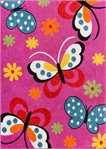Modern Rug Daisy Butterflies Pink 3'3'' x 5' Accent Area Rug Entry Way Bright Kids Room Kitchn Bedroom Carpet Bathroom Soft Durable Area Rug