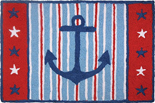 Jellybean Red, White & Blue Anchor Accent Rug