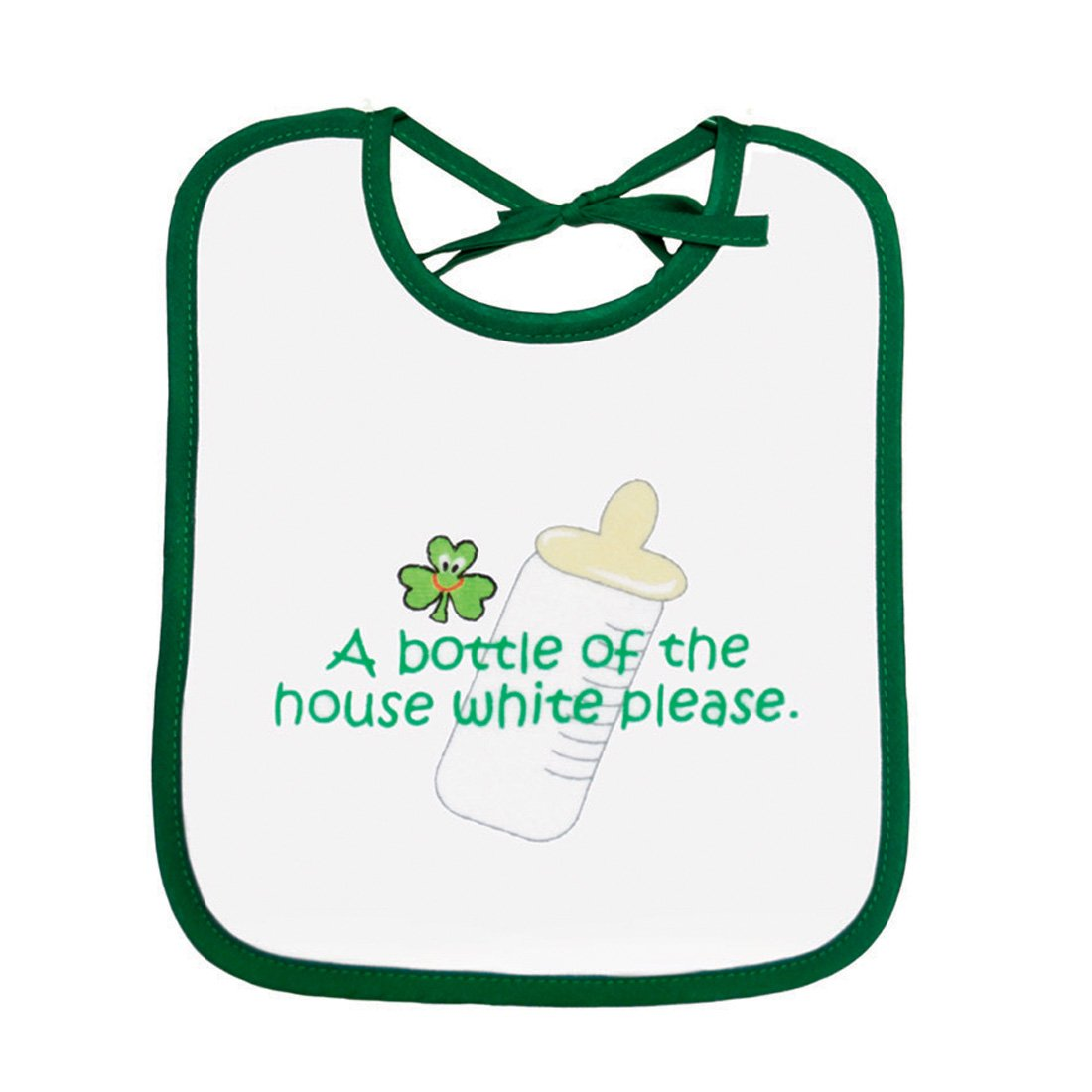 Baby Bib 'a Bottle Of The House White Please' Print Carrolls Irish Gifts