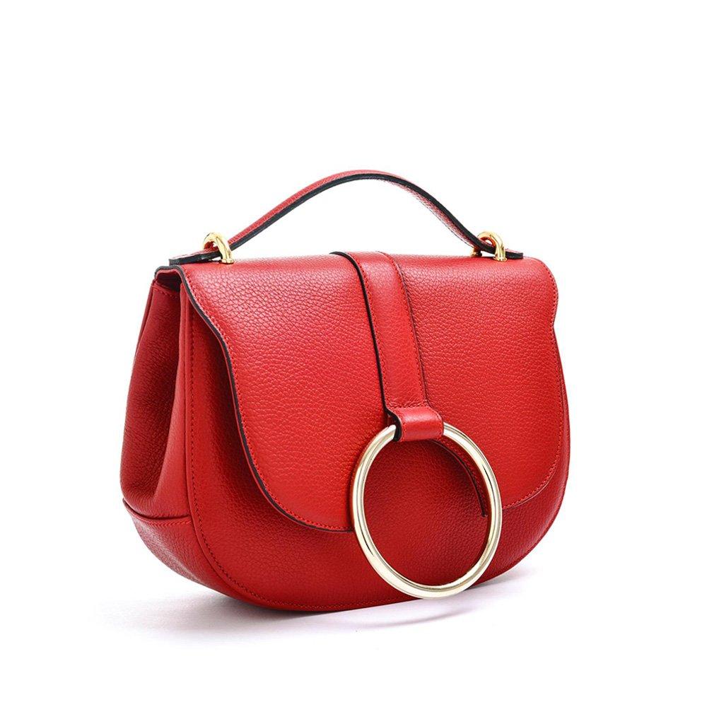 Carbotti Italian Designer Leather Metal Ring Grab Handbag, Shoulder Bag (red)