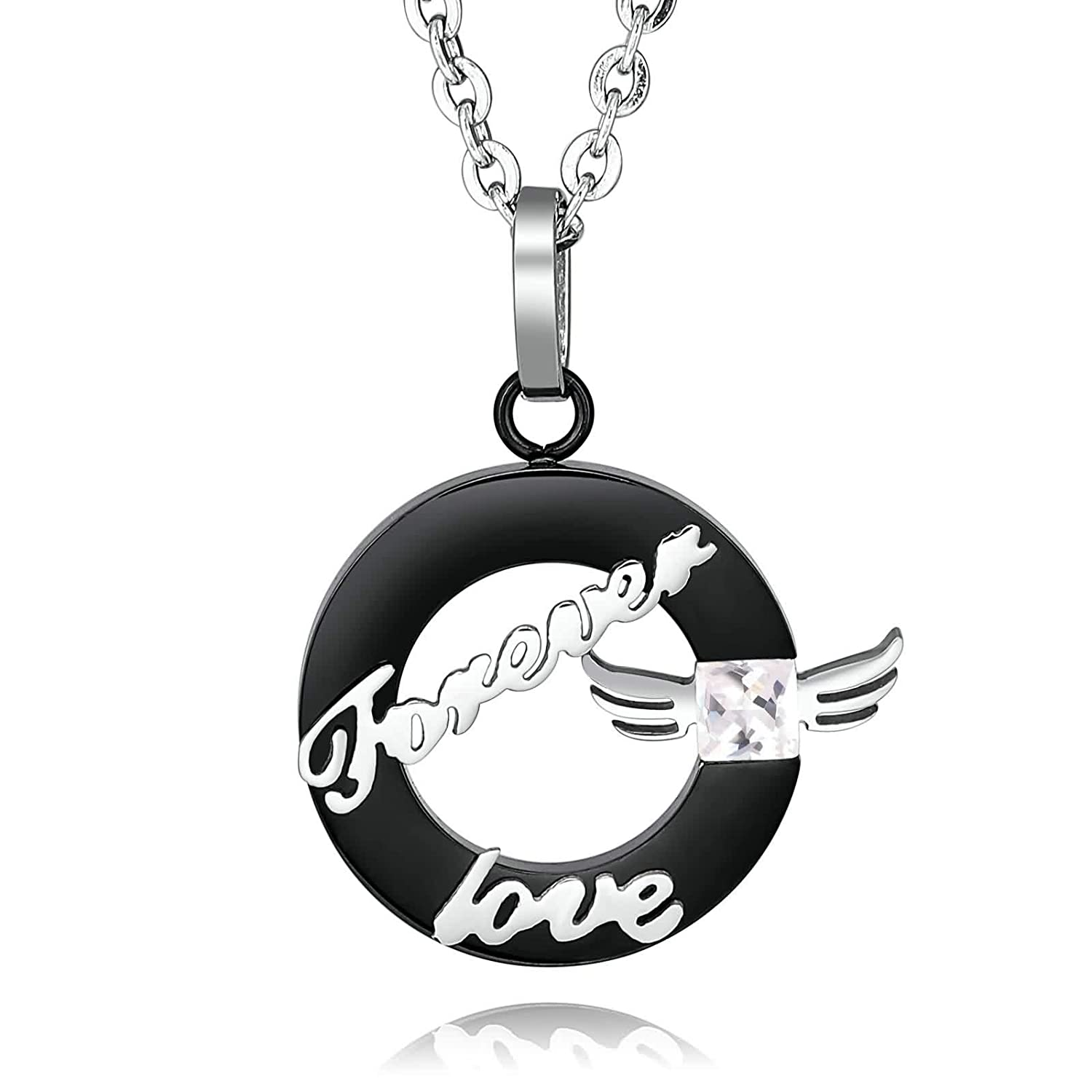 1PCS His & Hers Stainless Steel Pendant Necklace Engraved \