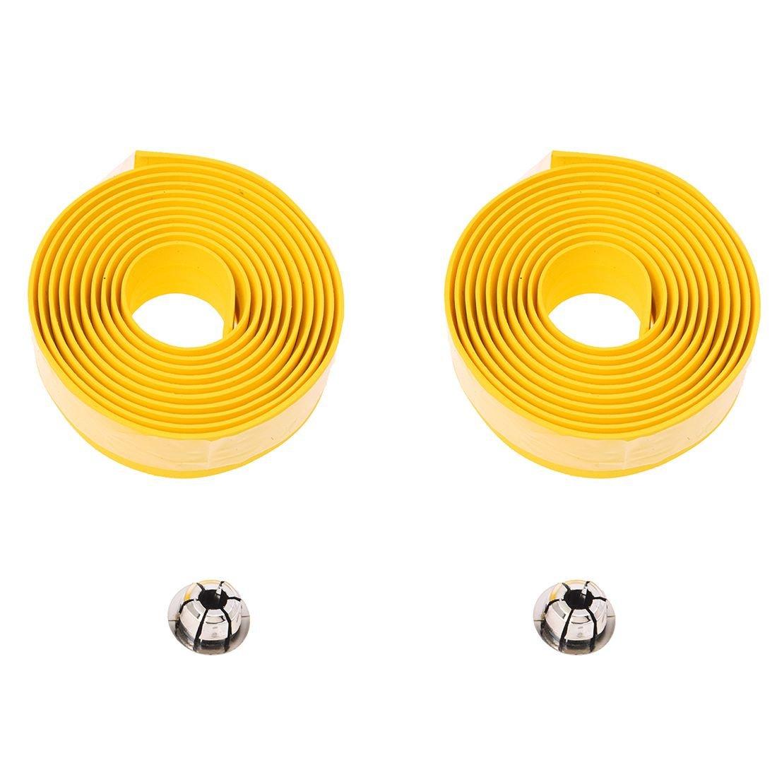 TOOGOO(R) Road Bike Bicycle Cork Handlebar Bar Grip Wrap Tape + 2 Bar Plugs-Yellow