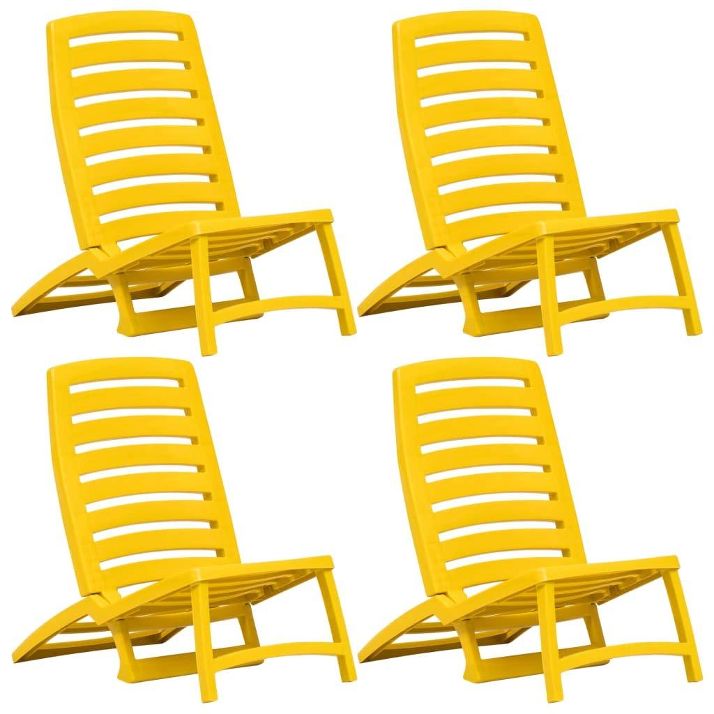 Festnight- Chaise de Plage Pliable Chaise de Camping 4 pcs Plastique Jaune 42 x 58 x 64 cm