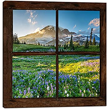 sechars - Canvas Prints Wall Art Vintage Window Frame Style Mount Rainier National Park Landscape Picture Wall Decor Stretched Giclee Print Modern Home Decoration Ready to Hang - 24x24