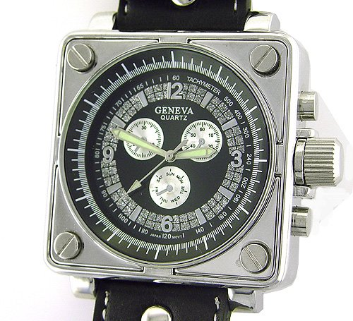 El mundo de la moda de reloj de cuero para hombre grande con caja cuadrada: Amazon.es: Relojes