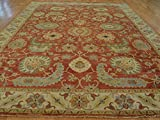 10 X 14 HAND KNOTTED RUST RED ANTIQUED SERAPI HERIZ FINE ORIENTAL RUG G22035