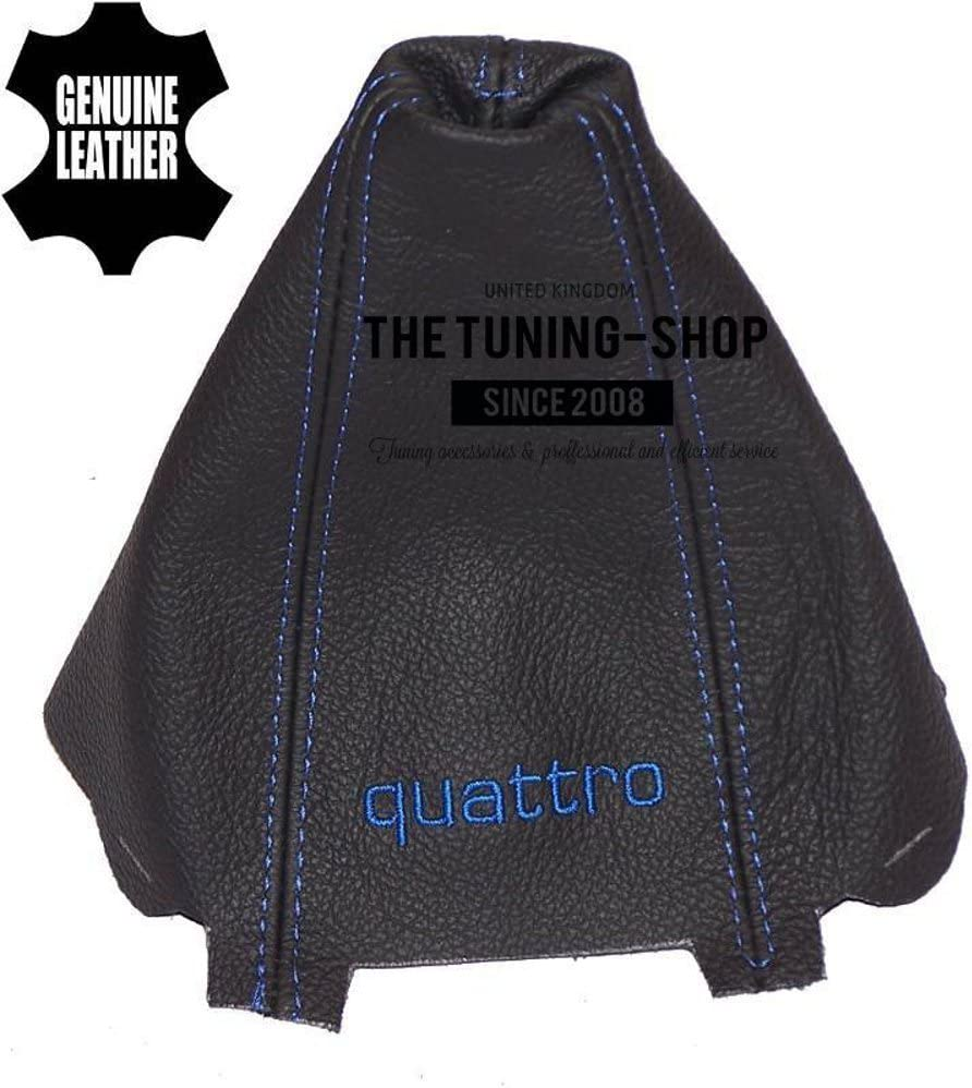 The Tuning-Shop Ltd Shift Boot Custom Made Shift Boot Black Genuine Italian Leather with Blue Stitching Embroidery Quattro