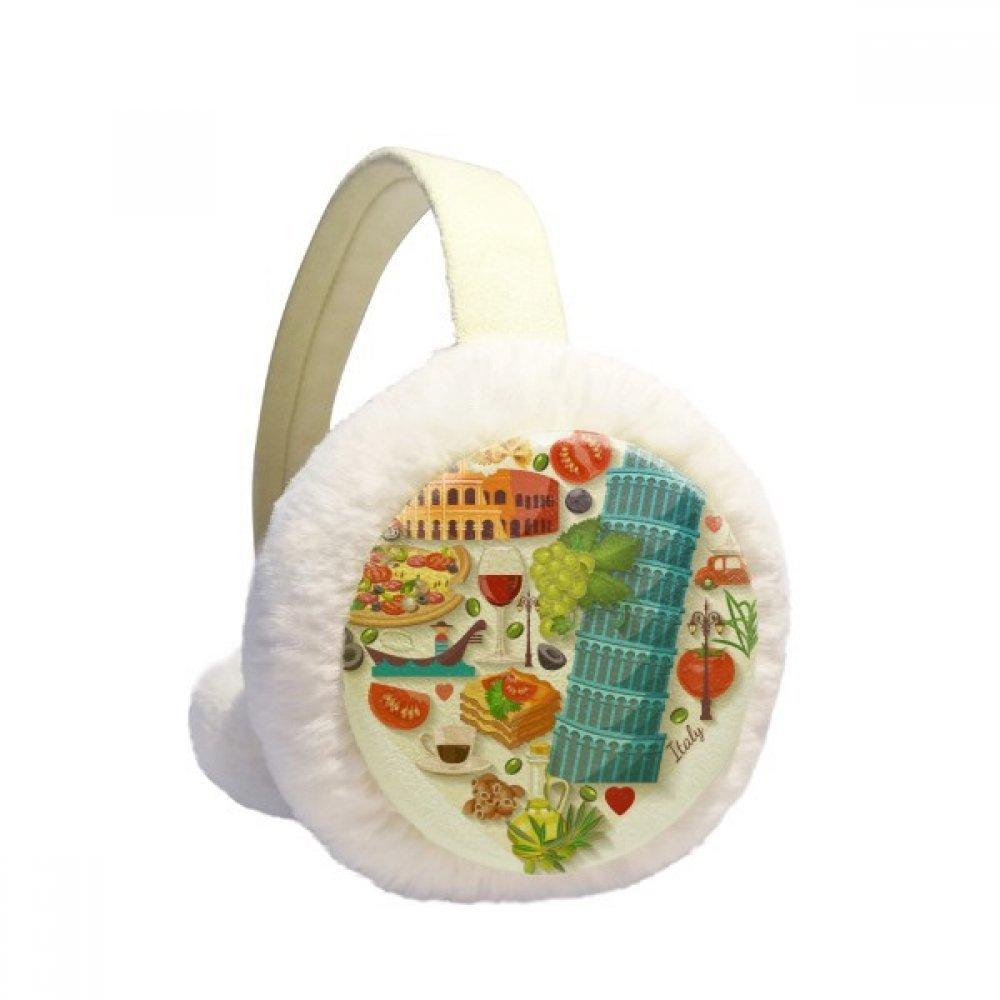 Italy Heart Roman Theater Winter Earmuffs Ear Warmers Faux Fur Foldable Plush Outdoor Gift