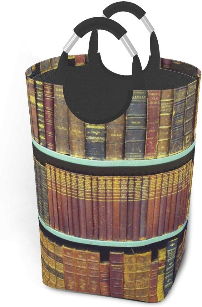 Collapsible Laundry Baskets, Dirty Laundry Hamper, Old Books On Bookshelf, Colapsable Laundry Basket With Metal Handles, Dorm Collaspable Laundry Basket Fabric For Camp Travel Kids Baby Girl Boy