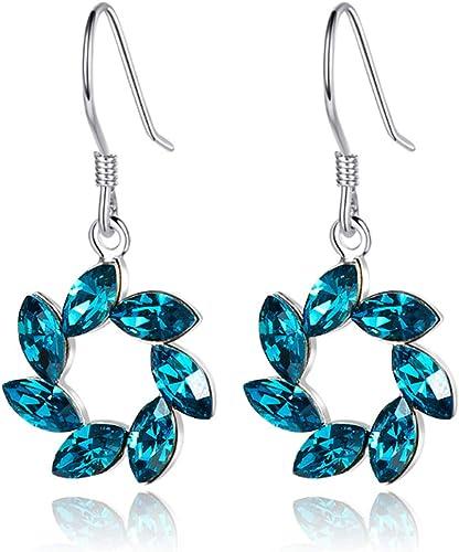 Blue Crystal Ladys Elegant Drop Earrings