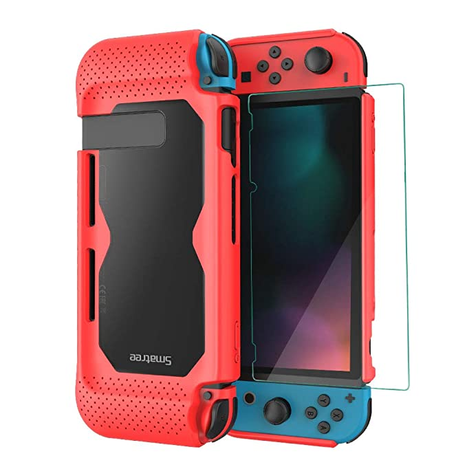 Smatree Hard Protective Case + Tempered Glass Screen Protector Compatible For Nintendo Switch (Red) by Smatree