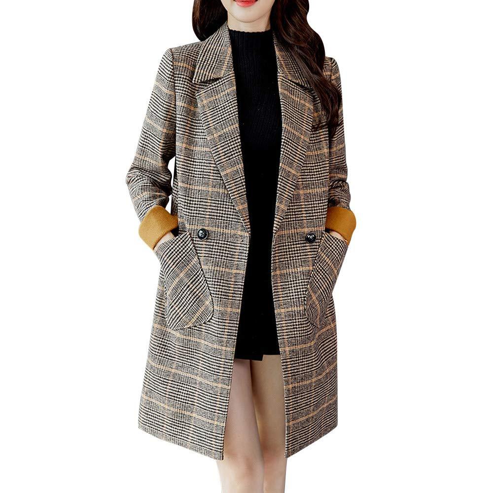 Pandaie Women Winter Parka Jacket Long Wool Trench Coat Elegant Vintage Overcoats Outwear Yellow by Pandaie
