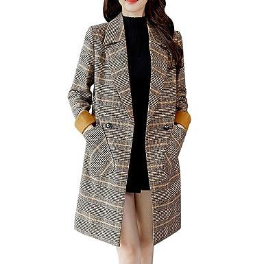 Manteau de Artificielle Laine Impression à Carreaux Femme,Rétro Veste Trench Blouson Chaud Manches Longues Double Breasted Coupe Vent Elégant Chic