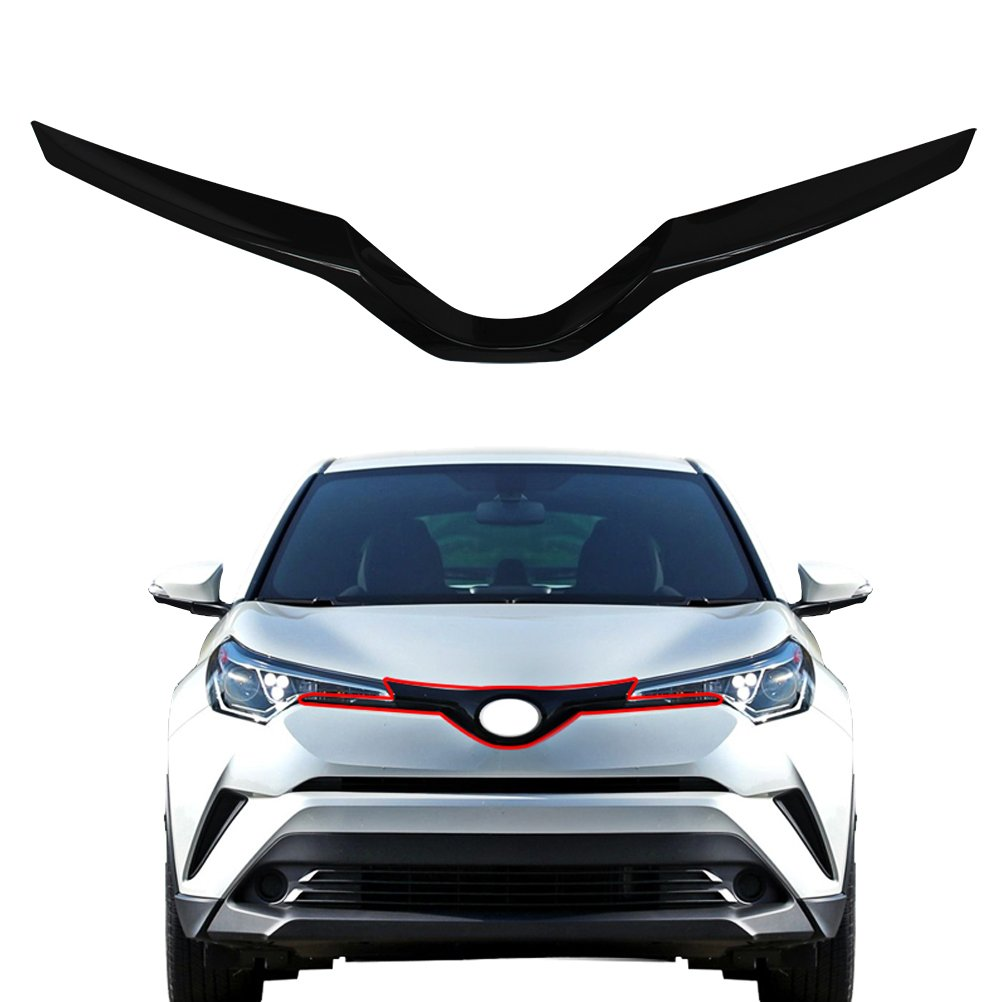 Ninteフロントトランクリアunder装飾2017 – 2018 Toyota c-hr   PaintedグロスブラックABSクロームトリム B07D8PNKRY