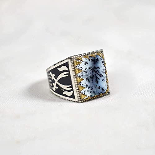 Dendritic Agate Gemstone Ring Sword Designer Two Tone Ring Huge Ring 925 Sterling Silver Dendritic Opal Mens Ring Father/'s Day Gift Jewelry