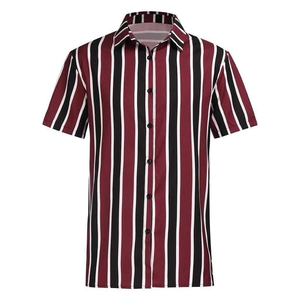 Camisa Hawaiana Hombre Camisas de Hombre Casual Camisa a Rayas de Manga Corta con Solapa Camisetas Hombre Originales Slim Fit La Moda Camisa con Botones para Hombre Heligen
