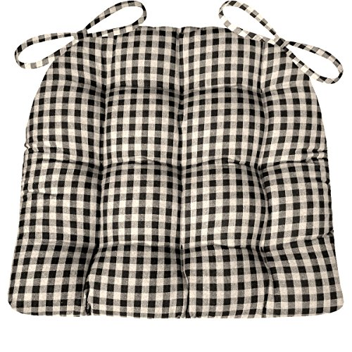 Barnett Products Dining Chair Pad with Ties - Black & White Checkers 1/4