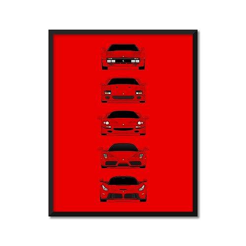 Amazon Com Customizable Color Ferrari Halo Car Generations Inspired Poster Print Wall Art Handmade Decor Of The History And Evolution Of The Ferrari Supercar Hypercar 288 Gto F40 F50 Enzo Laferrari Handmade