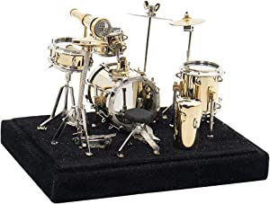Hiawbon Miniature Musical Instrument Model Gold Drum Set Metal Instrument Mini Replica on Stand Ornament with Storage Box for Drummer Gift Home Decor