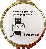 コージカンパニー コンパクトミラー 折りたたみ式 猫だらけ 拡大鏡付き 直径7.5cm レター ピンク 184482