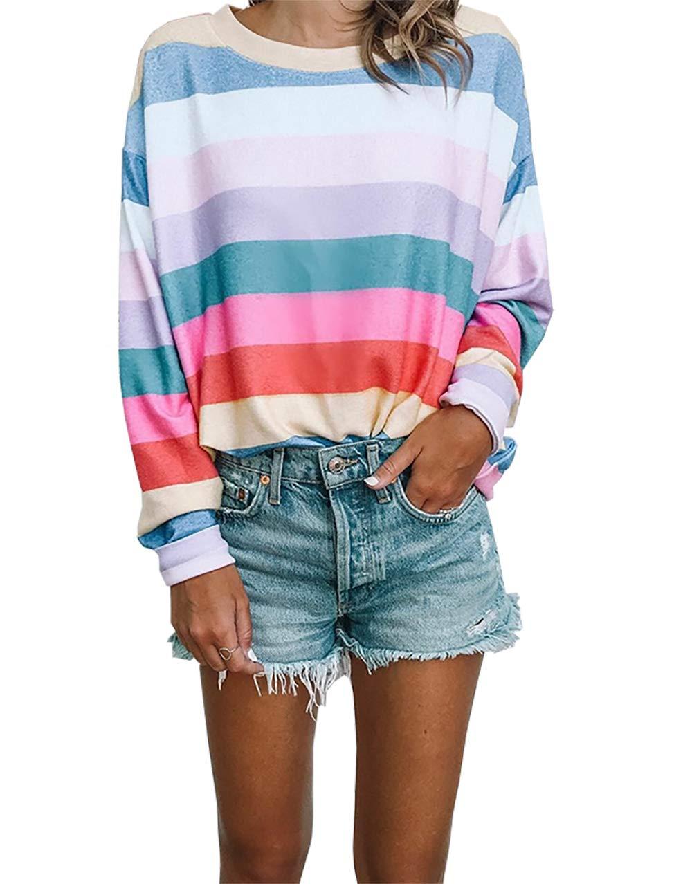 PRETTYGARDEN Women's Fashion Long Sleeve O-Neck Contrast Color Striped Casual Tops T-Shirt Tunic (Multicoloured-1, Medium)