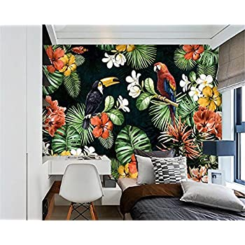 Image of Ai Ya-bihua 3D Wallpaper Hand Painted Parrot Tropical Rainforest Plant Cartoon Background Living Room Bedroom TV Mural Wallpaper