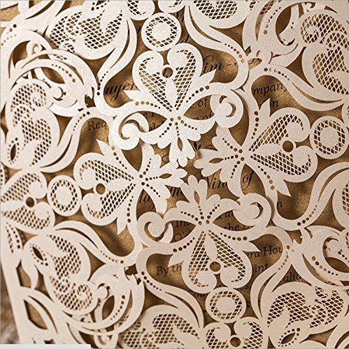 Doris Home Square Ivory Laser-cut Lace Flower Pattern Wedding Invitations CardsFall Bridal or Baby Shower Invite, Birthday Invitation Wedding Rehearsal Dinner Invites, Autumn Engagemen,100pcs,CW519_WH