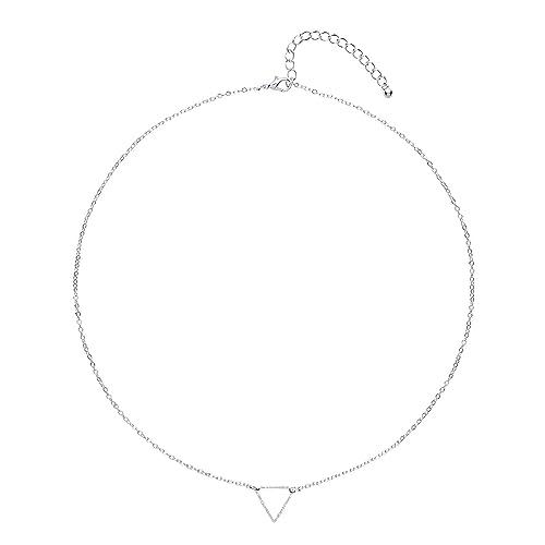 Front Row Damen-Kette silberfarben zierliches offenes Dreieck - Länge 48-53cm