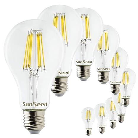 SunSeed 10x Bombilla Estándar Filamento LED E27 12W=130W Blanco Neutro 4000K