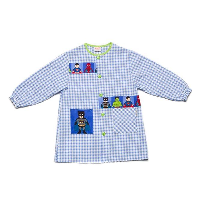 Dyneke Bata escolar botón azul Super Heroes (personalización opcional gratuita con nombre bordado)(