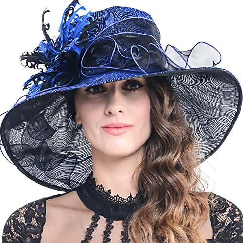 FORBUSITE Womens Glitter Embellished Kentucky Derby Church Wide Brim Hat S041 (Royal Blue)