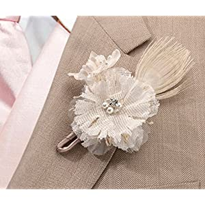 Lillian Rose Rustic Country Burlap Wedding Boutonniere 2