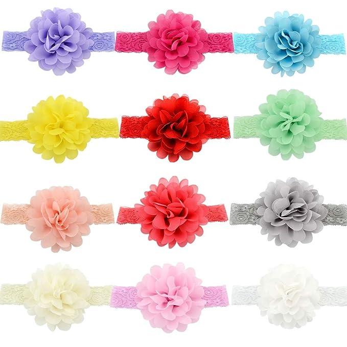 GUIFIER 12 piezas Diademas para bebés Bandas para la cabeza Diademas de  encaje elástico de chifón 303a1743b7e6