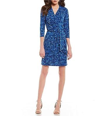 c071f51604c H Halston Faux Wrap Dress Womens Blue Static Texture (L) at Amazon ...