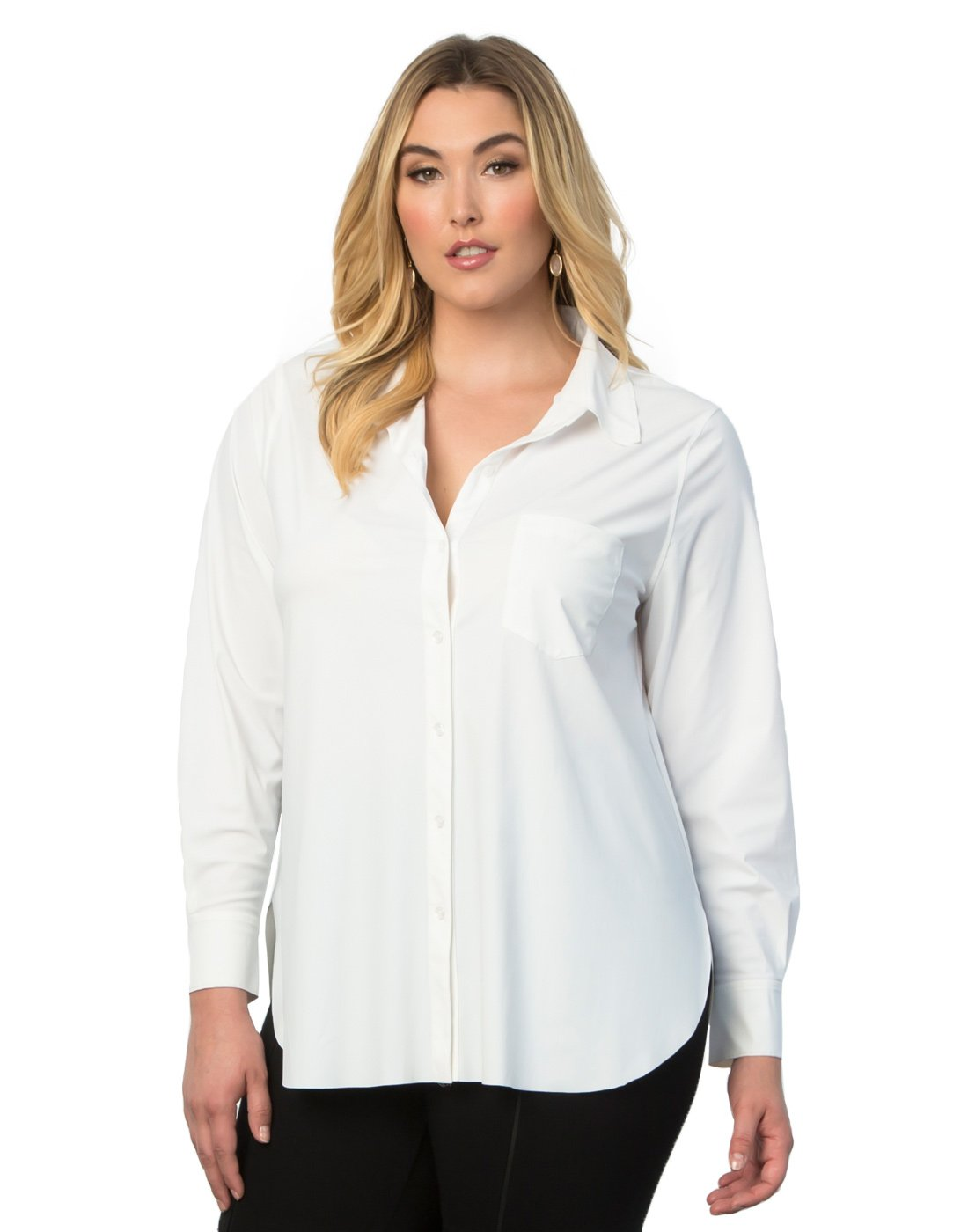 Kiyonna Clothing Women's Plus Size Schiffer Button Down by Lyssé 2X White by Kiyonna Clothing