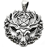 Solid Sterling Silver Hart of the Wildwood Pentagram Stag Talisman Pendant (P039)
