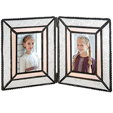 J Devlin Pic 172-2 Double Picture Frame Holds Two 2x3 Photo Vintage Stained Glass School Pictures Multi Photos