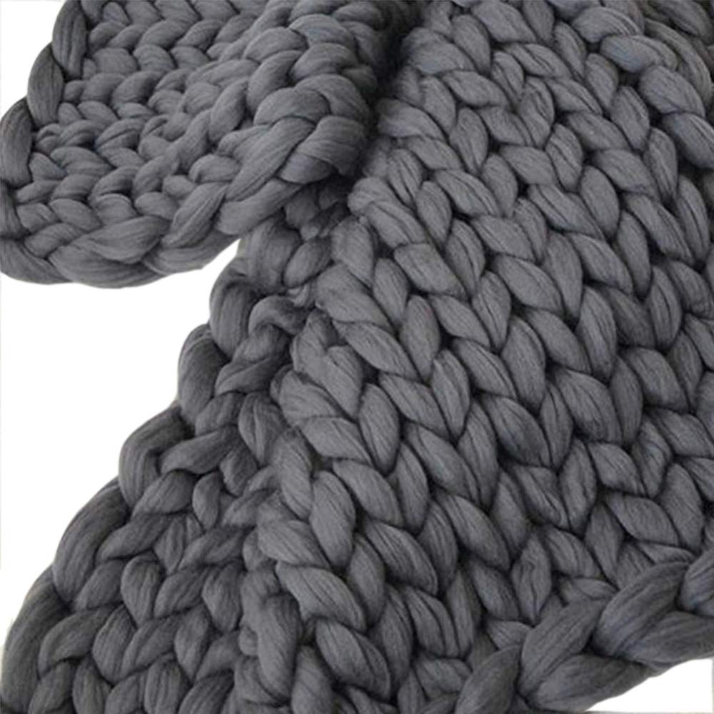 Shuhong Hand Klobig Gestrickte Decke, Warme Weiche Handgemachte Arm Gestrickte Decke Klobige Baumwolle Dicke Linie Home Decor,Grau-200  200cm