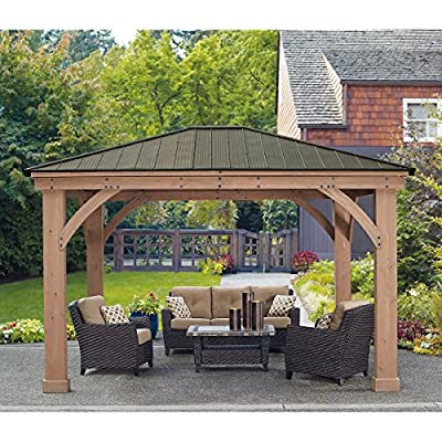 12' x 14' Cedar Gazebo With Aluminum Roof