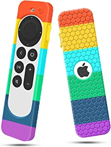 Winceed Silicone Case for 2021 Apple TV Siri Remote 2nd Generation, Anti Slip Shockproof Protective Cover Compatible with Apple TV 4K / HD Siri Remote Control (Rainbow)
