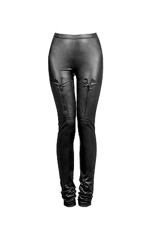 bd3e777edba3a Punk Women PU Leather Pants Gothic Stretch Tight Black Slim Trousers  Chaparajos: Amazon.co.uk: Clothing