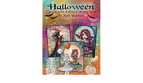 Halloween Coloring Book Special Artist Edition Spiral Top Bound On Card Stock By Molly Harrison Fantasy Art Witches Vampires Fall Themes