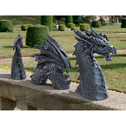 Design Toscano The Dragon of Falkenberg Castle Moat Lawn Garden Statue, 28 Inch Total, Polyresin, Grey Stone -