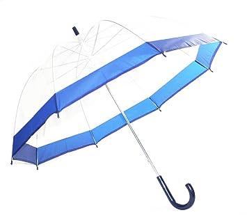 Schöner paraguas, transparente, transparente con borde azul, automático