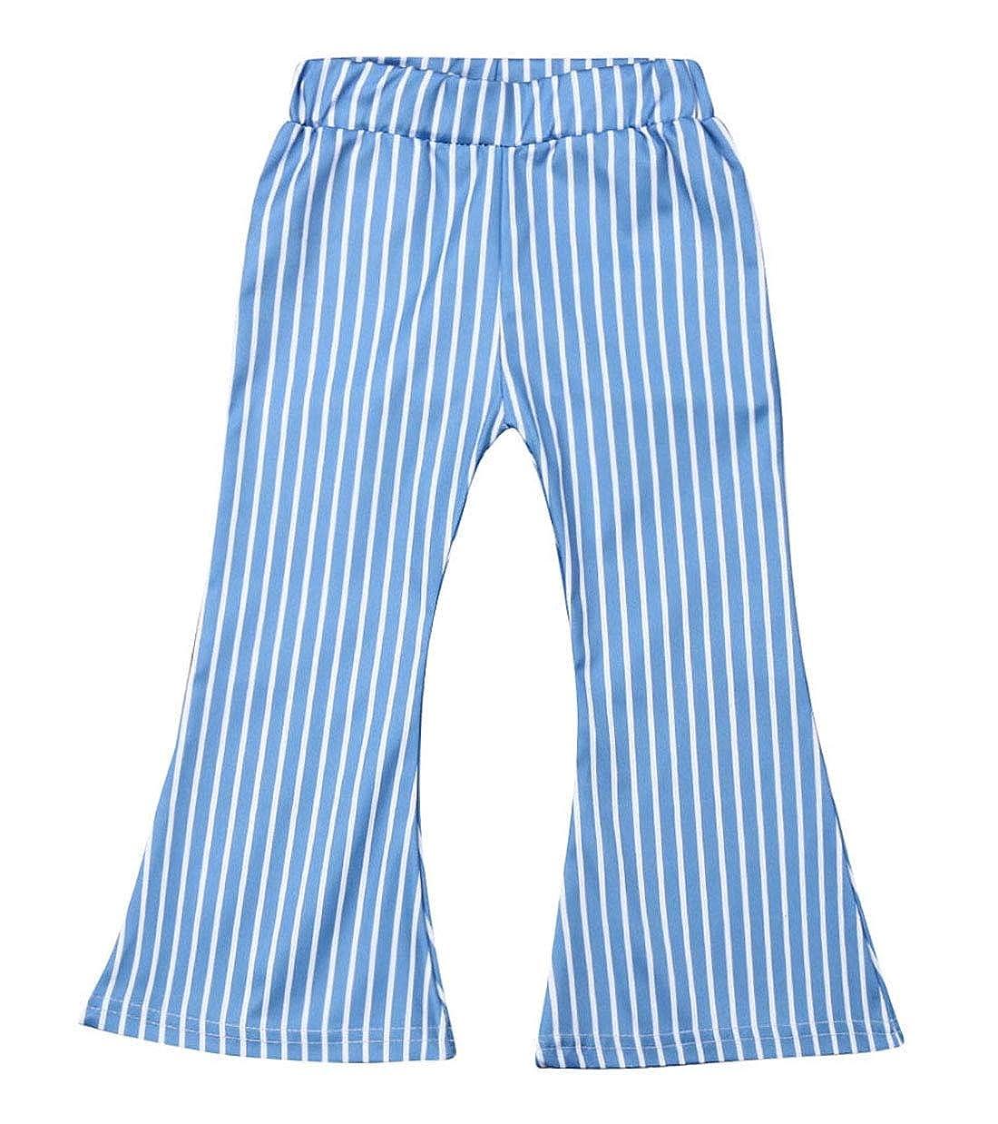 Sendewoner Toddler Baby Girls Pants Set Elastic Waist Striped Bell Bottom Trousers Fashion Long Pants Little Girls Clothes