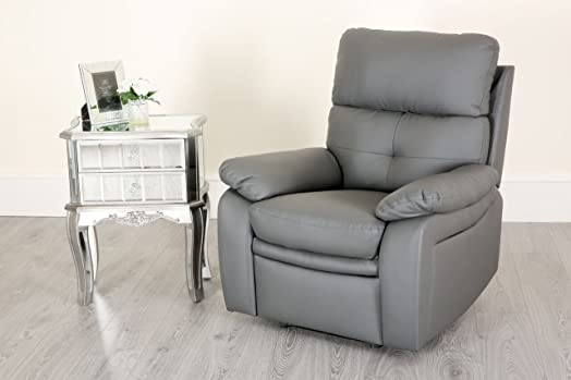 New Padstow Grey Buttoned Recliner 1 2 3 Seater Sofa Recliner Leather Settee  (1 Seater
