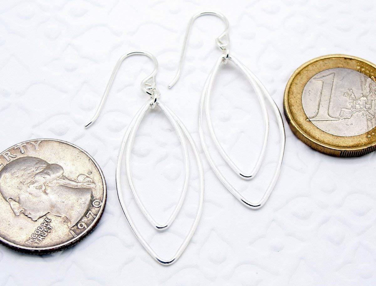 Silver Double Hoop Earrings with Two Oval Links