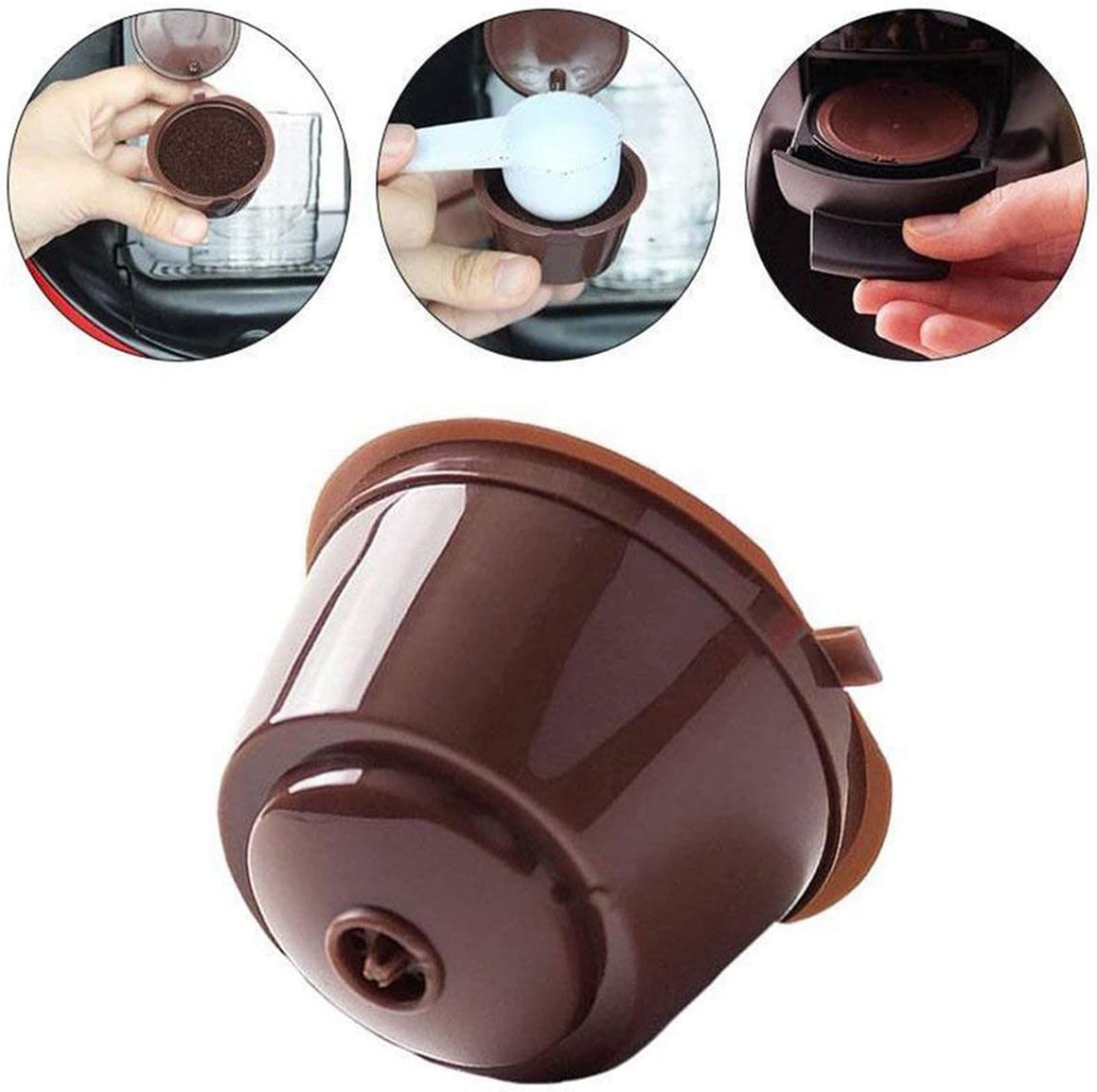 brown 3pcs spoon brush Tree-de-Life Reusable Coffee Capsule Pod Filter Cups Set With Spoon Brush Eco Friendly Stainless Steel Mesh Filter Suitable For Dolce Gusto